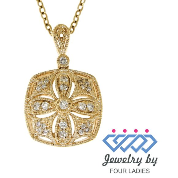 Real Diamond Floral Square Pendant 14K Yellow Gold